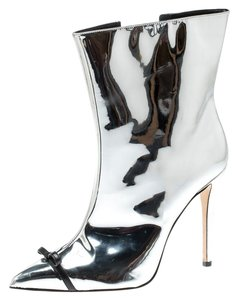 Marco de vincenzo Leather Pointed Toe Detail Silver Boots