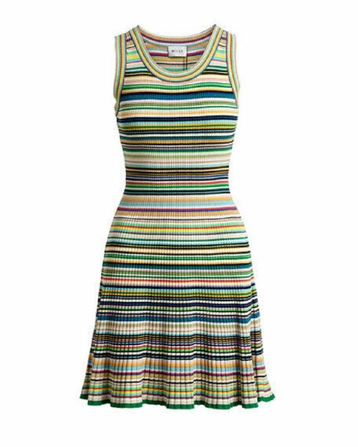 Item - Multicolor Micro Striped Flare Short Casual Dress Size Petite 2 (XS)