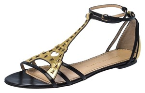Charlotte Olympia Leather Flat Gold Sandals