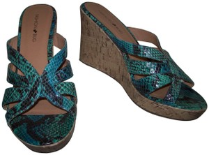 Fashion Bug Snake Cork Sandal Open Toe Blue Wedges