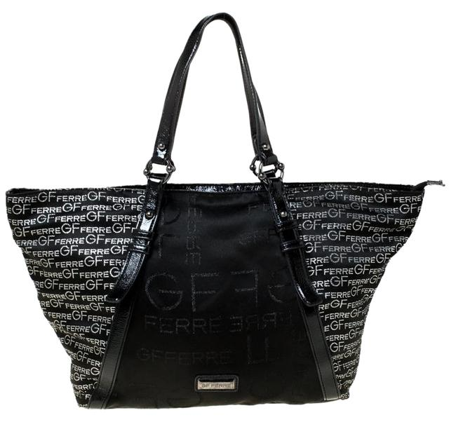 Item - Gf Logo Printed Nylon Zip Black Fabric and Patent Leather Tote