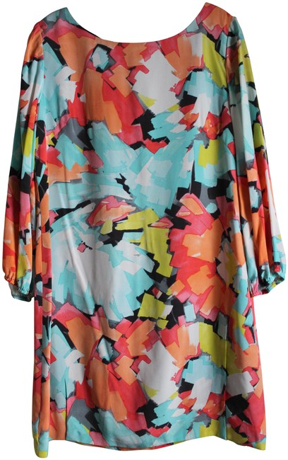 Item - Multicolor Watercolor Long Sleeve Shift Short Cocktail Dress Size 12 (L)