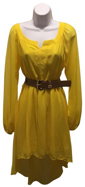 Item - Yellow Vail Fabric Short Casual Dress Size 8 (M)