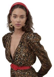Ronny Kobo Collection Midi Leopard Longsleeve Puffed Sleeve Ruched Dress