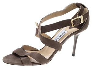 Jimmy Choo Suede Strappy Leather Brown Sandals