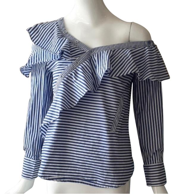 Item - White Blue Cold Shoulder Asymmetric Stripe Shirt*nwt Button-down Top Size 4 (S)
