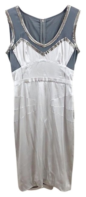 Item - Silver and Gray Dolce & Gabbana Silk Shift Mid-length Short Casual Dress Size 6 (S)