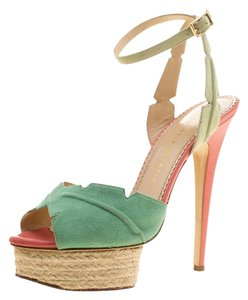 Charlotte Olympia Suede Platform Leather Green Sandals