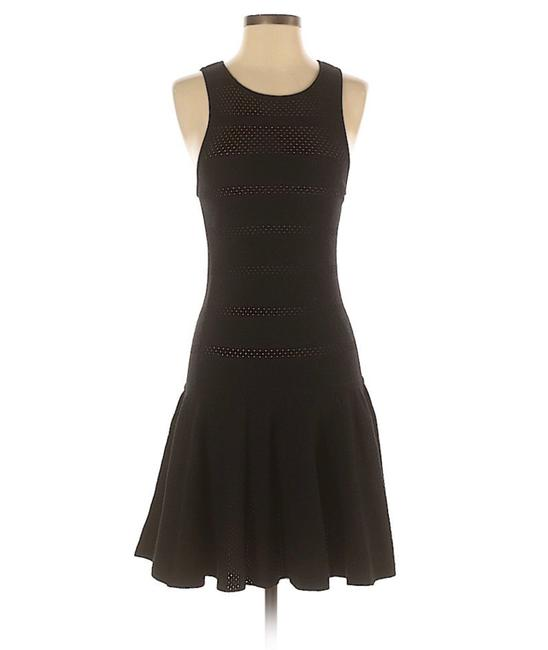Item - Black Wool Sleeveless Fit and Flare Knit Mid-length Short Casual Dress Size 6 (S)