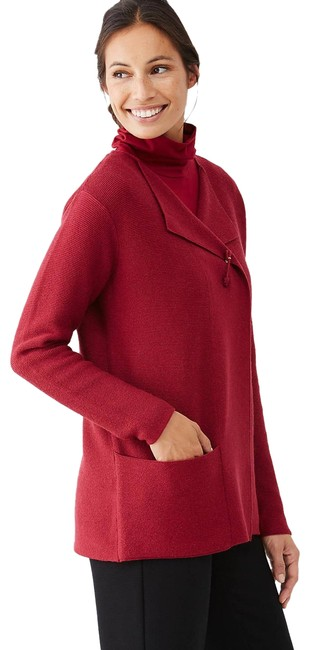 Item - Open Front Flap Lapel Red Sweater