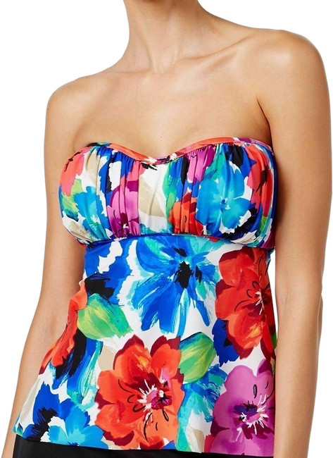 Item - Multicolor Womens Bust Support Floral Print Separates Red Bikini Top Size 14 (L)