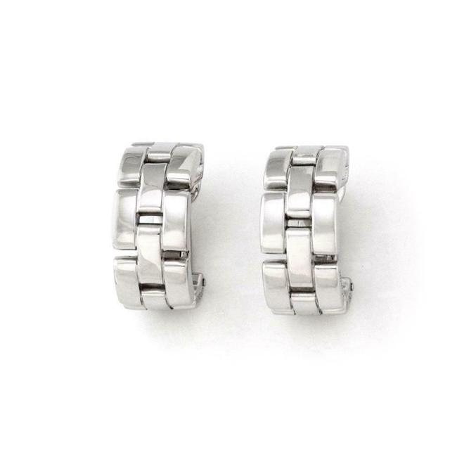 Item - #64648 Maillon Panthere 18k White Gold Oval Hoop Huggie Paper Earrings