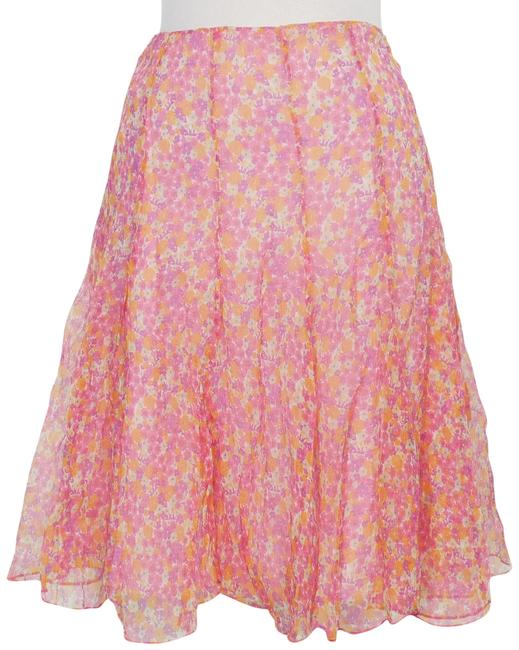 Item - Pink Multi Crinkle Silk Chiffon Floral Panel Flared Skirt Size 10 (M, 31)