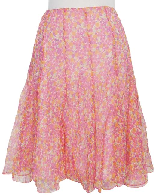 Item - Pink Multi Crinkle Silk Chiffon Floral Panel Flared Skirt Size 12 (L, 32, 33)