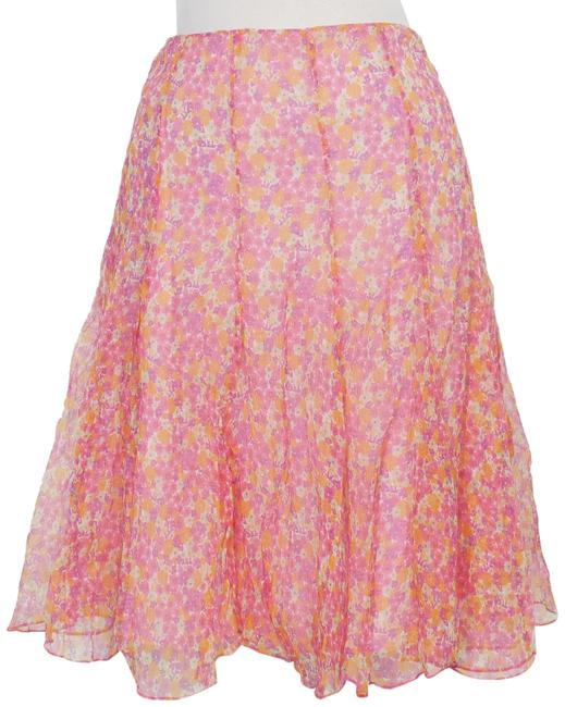 Item - Pink Multi Crinkle Silk Chiffon Floral Panel Flared Skirt Size 16 (XL, Plus 0x)