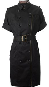 Burberry short dress Black Trench Coat Military Asymmetrical Zipper Double-breasted Epaulettes on Tradesy