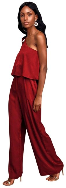 Item - Red One Shoulder Onepiece Long Pant Sleeveless Romper/Jumpsuit