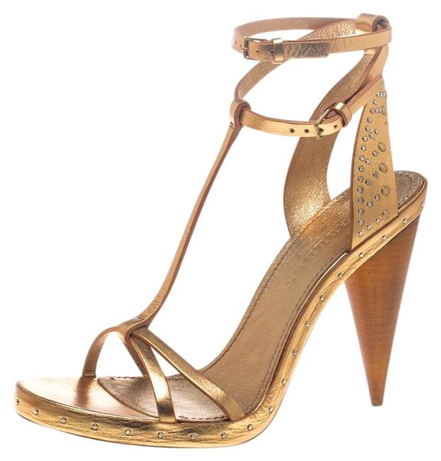 Burberry Gold Metallic Leather Hans T Strap Sandals Size US 8.5 Regular (M, B) Burberry Gold Metallic Leather Hans T Strap Sandals Size US 8.5 Regular (M, B) Image 1