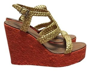 Kate Spade Orange/Gold Wedges