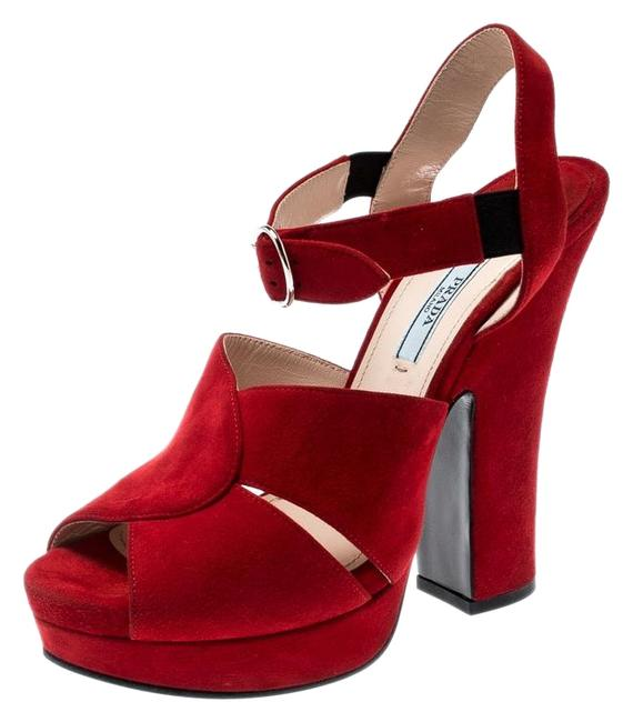 Item - Red Suede Leather Open Toe Ankle Strap Sandals Size US 7.5 Regular (M, B)