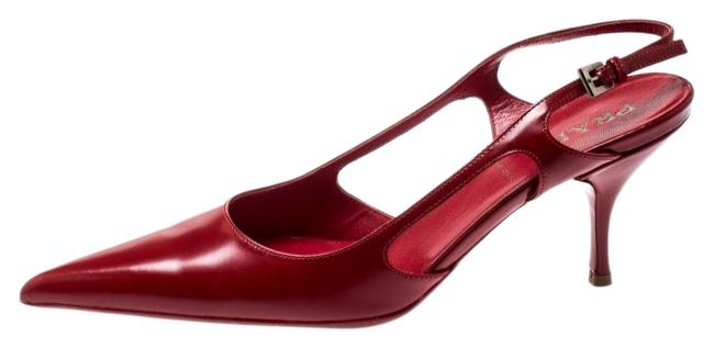 Prada Red Leather Pointed Toe Slingback 36.5 Sandals Size US 6 Regular (M, B) Prada Red Leather Pointed Toe Slingback 36.5 Sandals Size US 6 Regular (M, B) Image 1