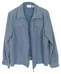 Alfred Dunner Light-weight Light-weight Zipper Faux Suede teal Jacket