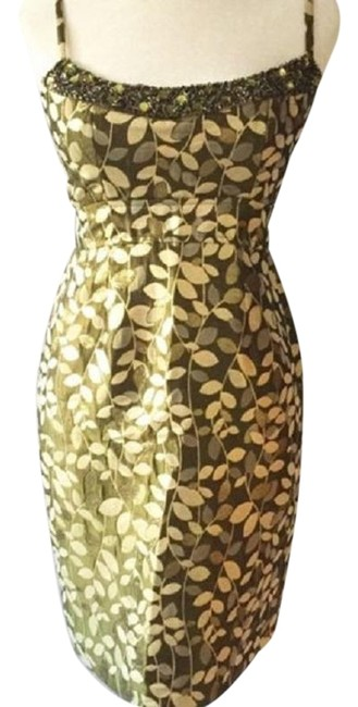 Item - Gold/Green Rn58142 Mid-length Short Casual Dress Size 12 (L)