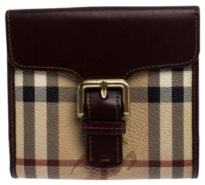 Burberry Brown/Beige Hymarket PVC and Leather Buckle Wallet