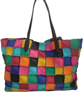 Clever Carriage Company Artisan Patchwork Shopper Leather Tote in Multicolor