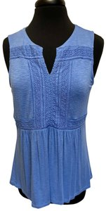 Cupio Sleeveless Summer Lace Trim Top blue