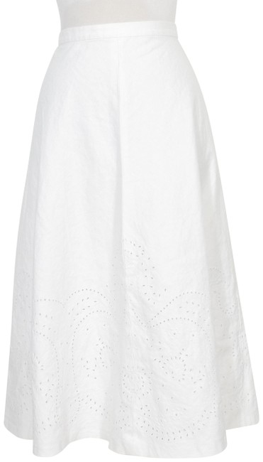 Item - White Linen Cotton Embroidered Eyelet Flare 12p Skirt Size Petite 12 (L)