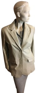 Pamela McCoy Creamy Beige Leather Jacket