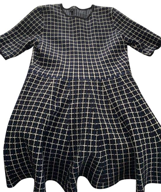 Item - Black with White and Navy Stripes Mid-length Work/Office Dress Size 12 (L)
