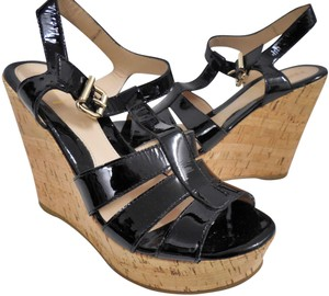 Fendi Patent Leather Cork Wedge Heels Black Platforms