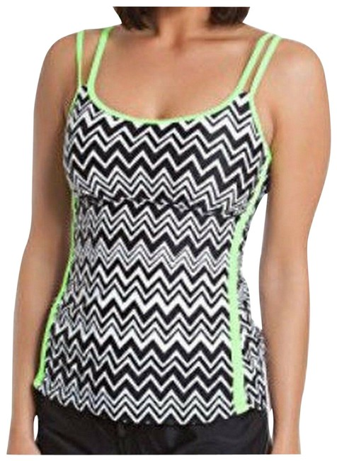 Item - Green Go Non Stop Top Only Black/White Active Inspired Tankini Size 10 (M)