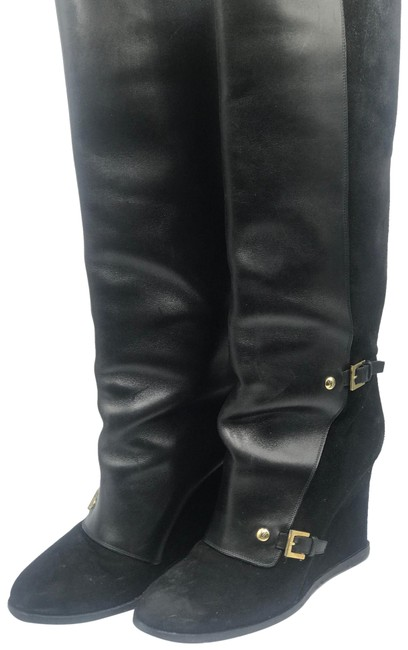 Item - Black Suede Leather Long Gold Tone Wedge Knee High Boots/Booties Size EU 40 (Approx. US 10) Regular (M, B)