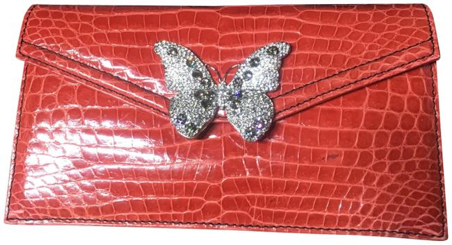 Item - With Swarofski Butterfly Red Crocodile Skin Leather Clutch