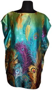 Classique Peacock Feather Silky Colorful Tunic