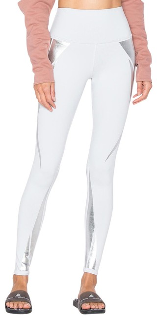 Item - Dove Grey Silver Facet Airbrush High Waist Grey/Silver Pull-on Activewear Bottoms Size 12 (L, 32, 33)