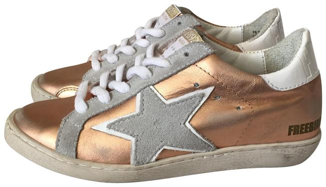 Item - Distressed Rose Gold Leather Sneakers Size US 6 Regular (M, B)