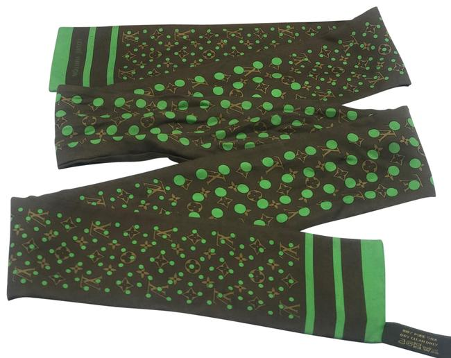 Item - Green Polka Dots Limited Edition Brown Perforated Bandeau Neckerchief Twilly Bandanna Scarf/Wrap