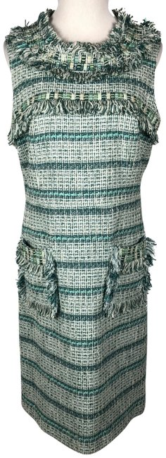 Item - Teal / Green / White Curtis Tweed Sheath Short Casual Dress Size 12 (L)