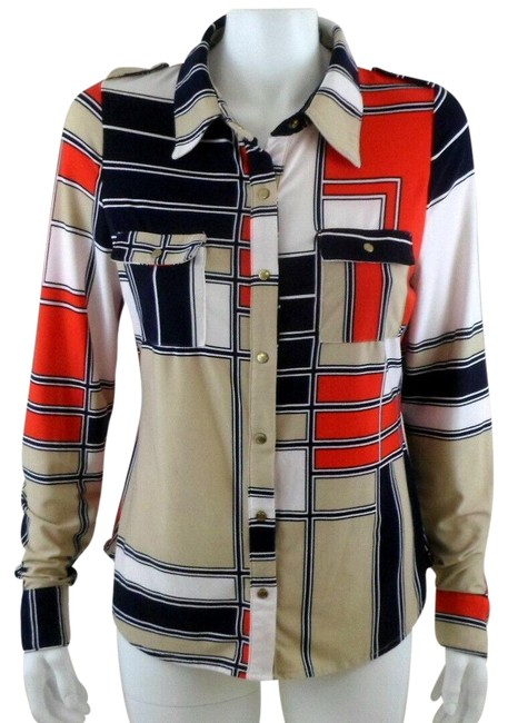 Item - Blue Red White Tan Color Blocked Blouse Size 16 (XL, Plus 0x)