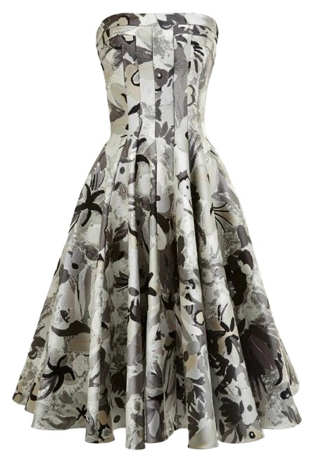 Item - Grey Jungle Floral Strapless Flared Front Paneled Mid-length Cocktail Dress Size 2 (XS)