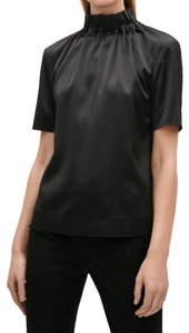 COS Ruched Gathered Neck Top Black