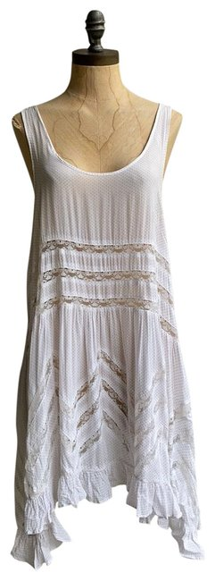 Item - White Gray Intimately Voile and Lace Trapeze Slip Polka Dot Short Casual Dress Size 6 (S)