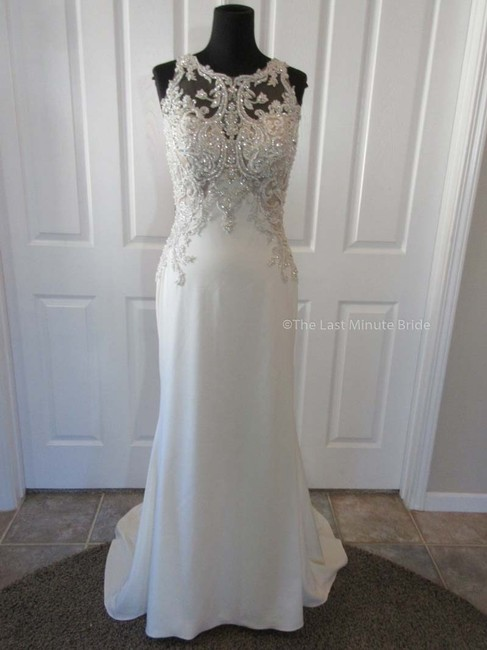 Item - Ivory/Nude/Pewter Lace Nerys 9ms123 Feminine Wedding Dress Size 10 (M)