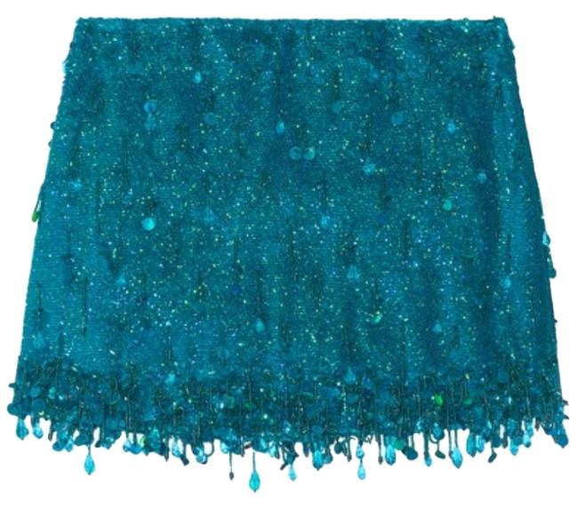 Item - Turquoise Sequined Silk Georgette Beaded Skirt Size 6 (S, 28)
