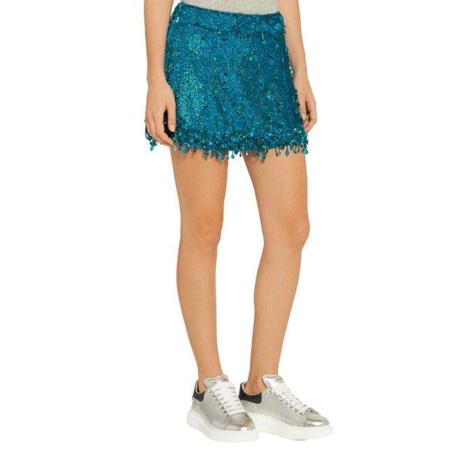 Ashish Turquoise Sequined Silk Georgette Beaded Skirt Size 6 (S, 28) Ashish Turquoise Sequined Silk Georgette Beaded Skirt Size 6 (S, 28) Image 2