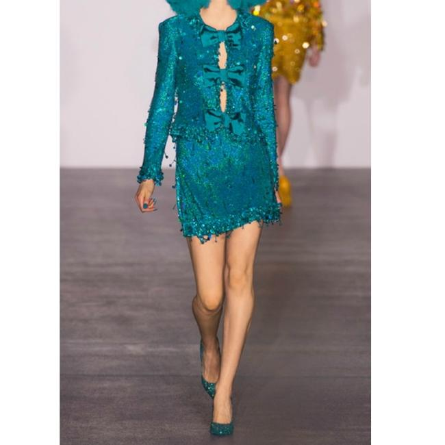 Ashish Turquoise Sequined Silk Georgette Beaded Skirt Size 6 (S, 28) Ashish Turquoise Sequined Silk Georgette Beaded Skirt Size 6 (S, 28) Image 12